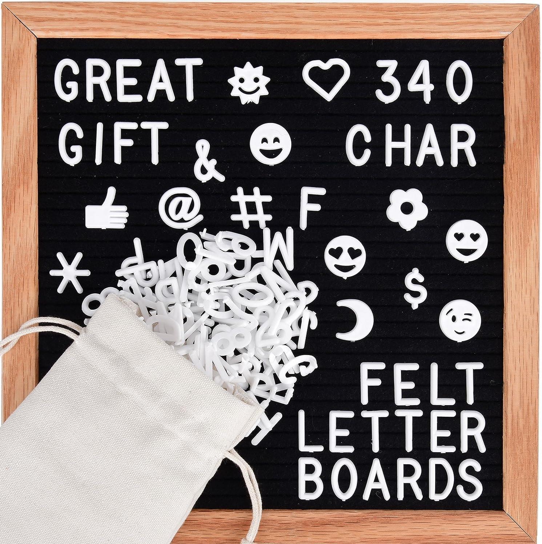 Letter Board - Black Felt Changeable, 340 White Letters, 10x10 Inch, Including Emoji, Numbers & Symbols, Solid Wood Oak Frame, Wooden Message Board Sign, Hanging Wall Mount, Canvas Bag, JL Brands