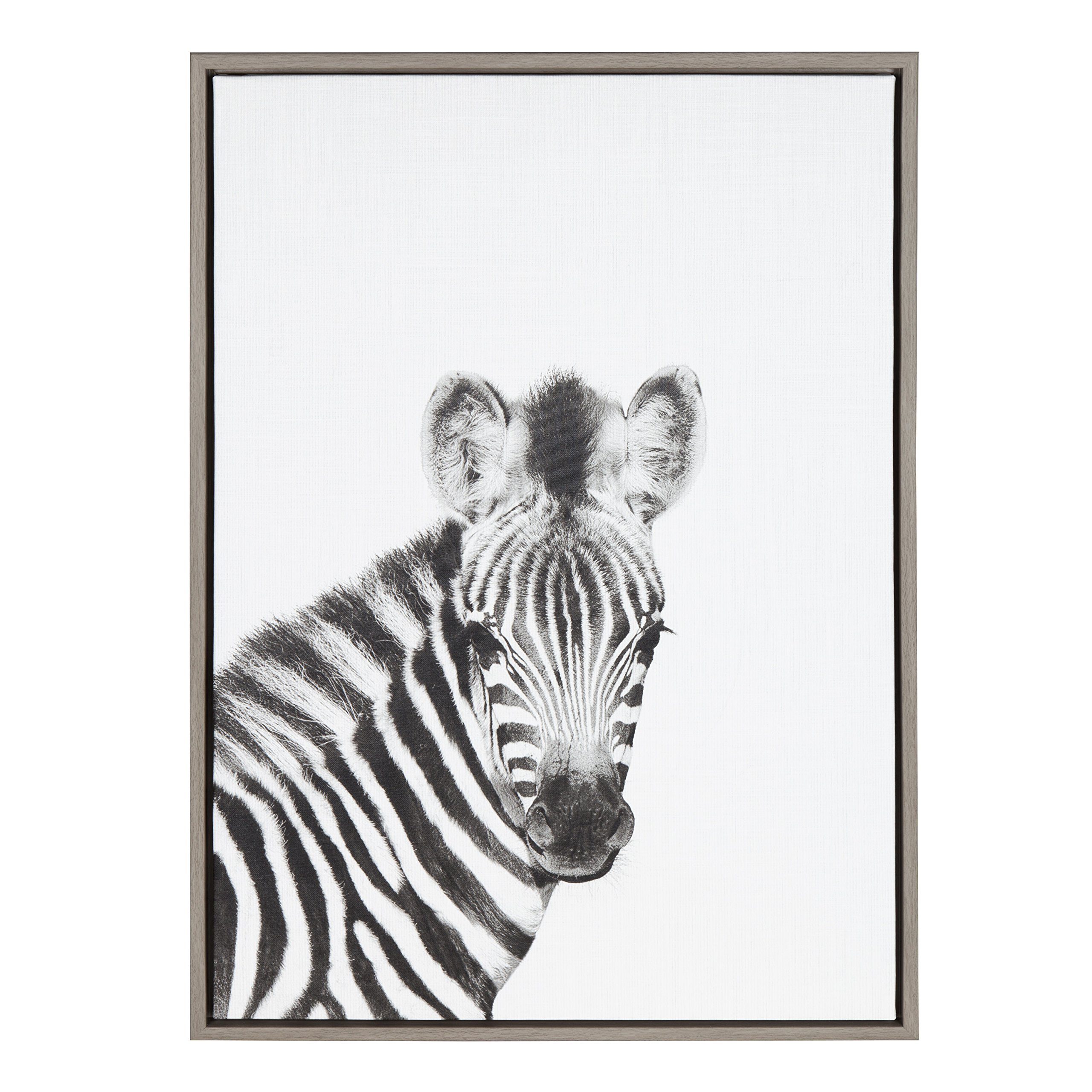 Kate and Laurel Sylvie Baby Zebra Black and White Portrait 23x33 Gray Framed Canvas Wall Art by Simon Te Tai
