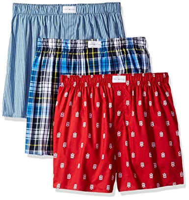 6a838ed3f885 Tommy Hilfiger Men's Underwear 3 Pack Cotton Classics Woven Boxers:  Amazon.in: Clothing & Accessories