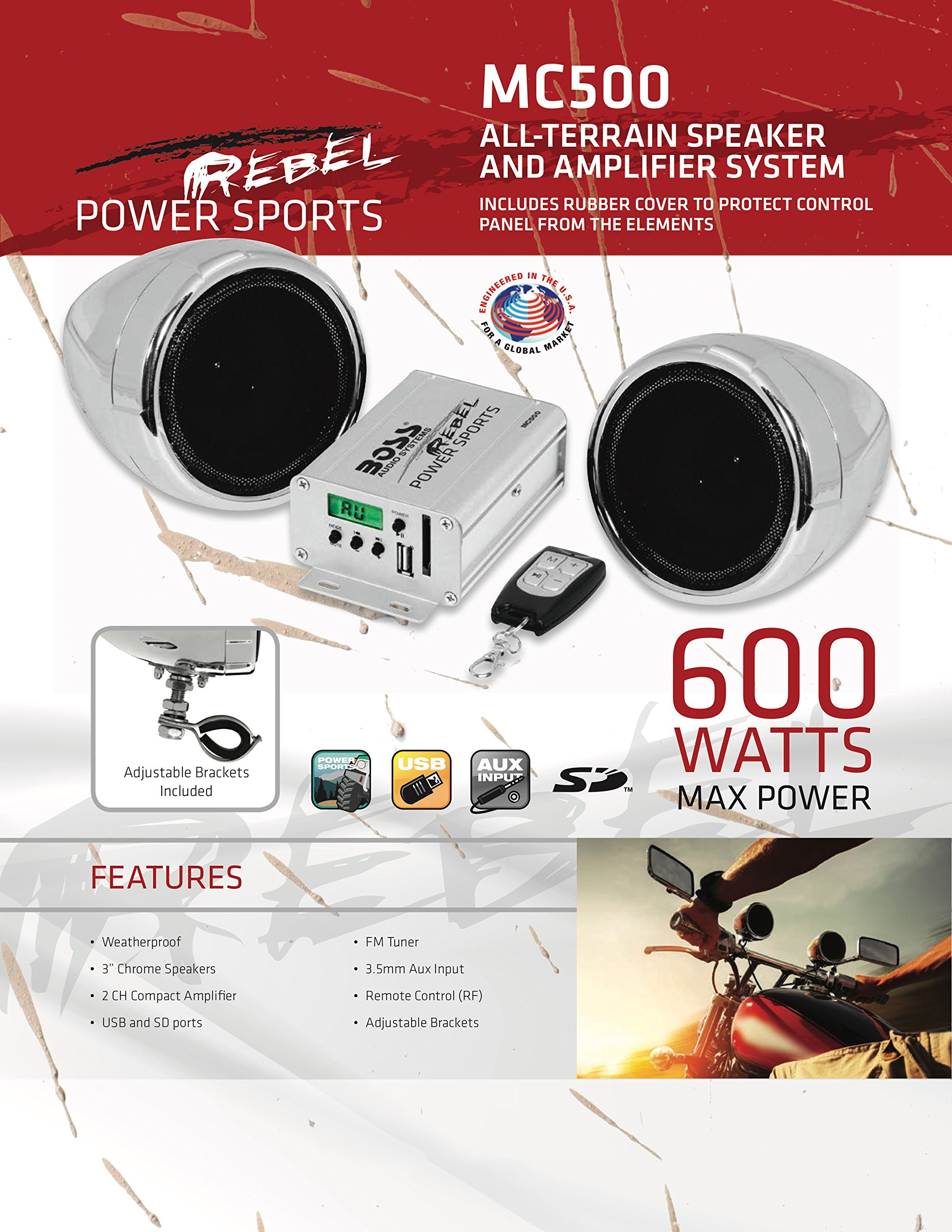 BOSS Audio MC500 All-Terrain, Weatherproof Speaker And Amplifier Sound System, Two 3 Inch Speakers, Compact Amplifier, Multi-Function Remote Control, Ideal For Motorcycles/ATV and 12 Volt Applications by BOSS Audio (Image #6)