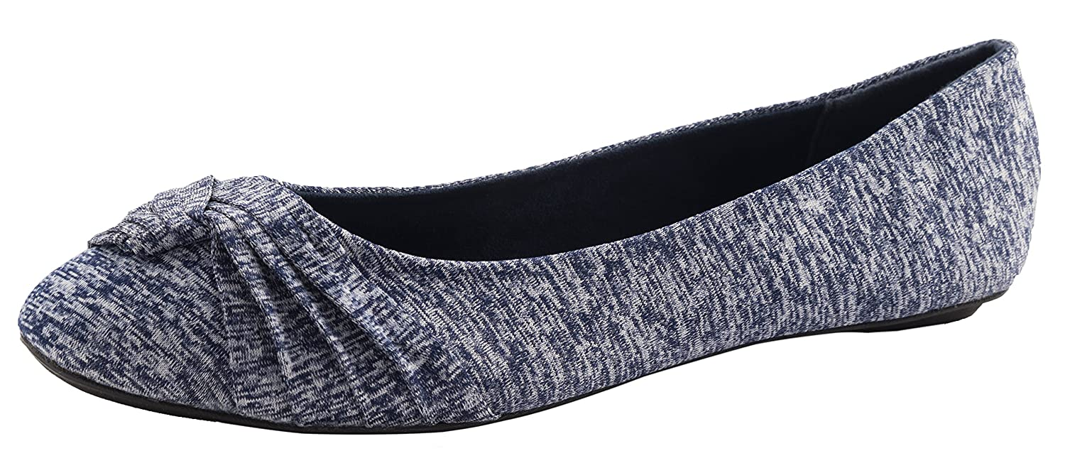Cambridge Select Women's Slip-On Knotted Closed Round Toe Ballet Flat B079ZY13CR 7 B(M) US|Navy