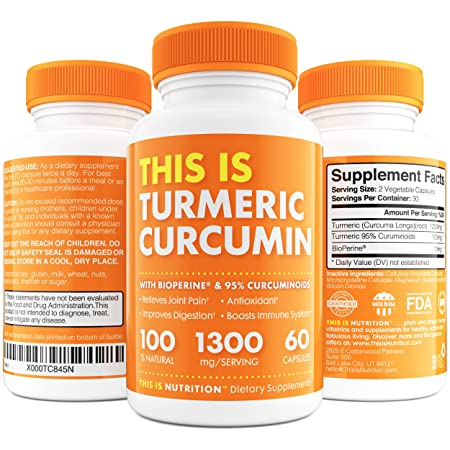 Turmeric Curcumin with BioPerine 1300mg – Anti-Inflammatory Antioxidant Supplement with 10mg of Black Pepper for Better Absorption – Great Joint Pain Relief by This Is Nutrition – 30 Day Supply