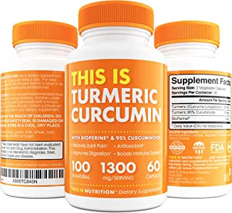 Turmeric Curcumin with BioPerine 1300mg - Anti-Inflammatory & Antioxidant Supplement with 10mg of Black Pepper for Better Absorption - Great Joint Pain Relief by This Is Nutrition - 30 Day Supply