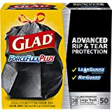 Glad Large Drawstring Trash Bags – ForceFlexPlus 30 Gallon Black Trash Bag - 50 Count