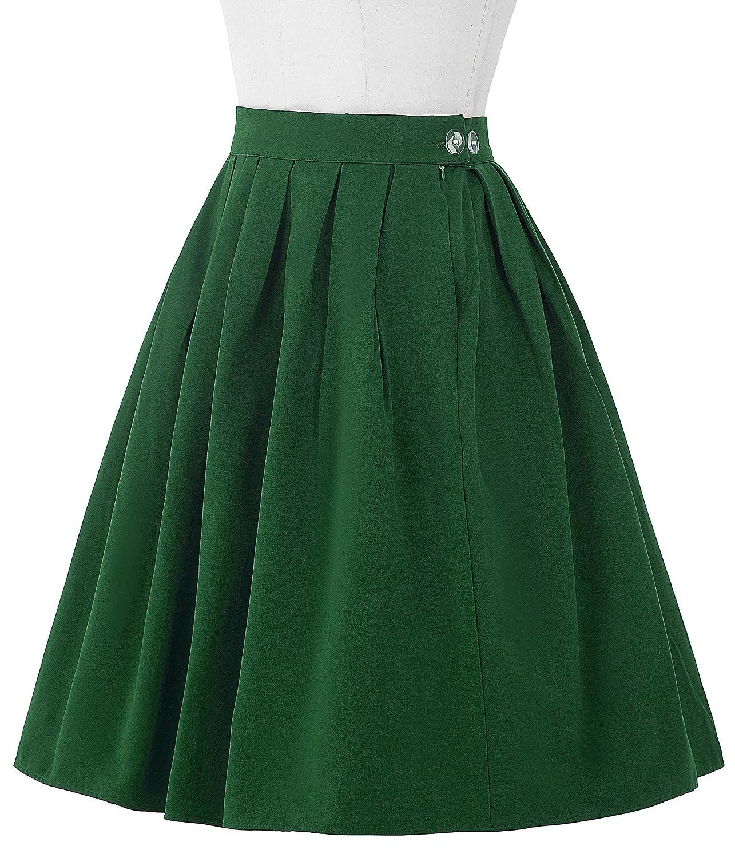 e82f9baf5 GRACE KARIN 50s Retro Floral A-Line Pleated Skirt Summer Knee Length Full Circle  Skirt: Amazon.co.uk: Clothing