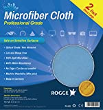 ROGGE Professional Microfiber Cloth [2 Pack] - Optical Grade, Lint Free, Extra Large (15x15in), Washable, Cuttable - Designed for cleaning sensitive surfaces and optical equipment - Made in Germany