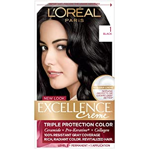 L'Oreal Paris Excellence Creme Permanent Hair Color, 1 Black, 100% Gray Coverage Hair Dye, Pack of 1