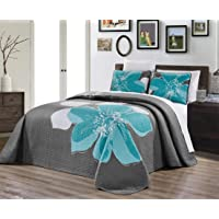 GrandLinen 3-Piece Fine Printed Quilt Set Reversible Bedspread Coverlet Twin, Full, Queen, King and Cal King Size Bed Covers, Polyester & Polyester Blend, Aqua Blue, Grey, White Hibiscus, Twin / Twin XL