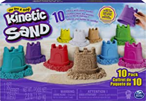 Kinetic Sand, Castle Containers 10-Color Pack for Kids Aged 3 & Up