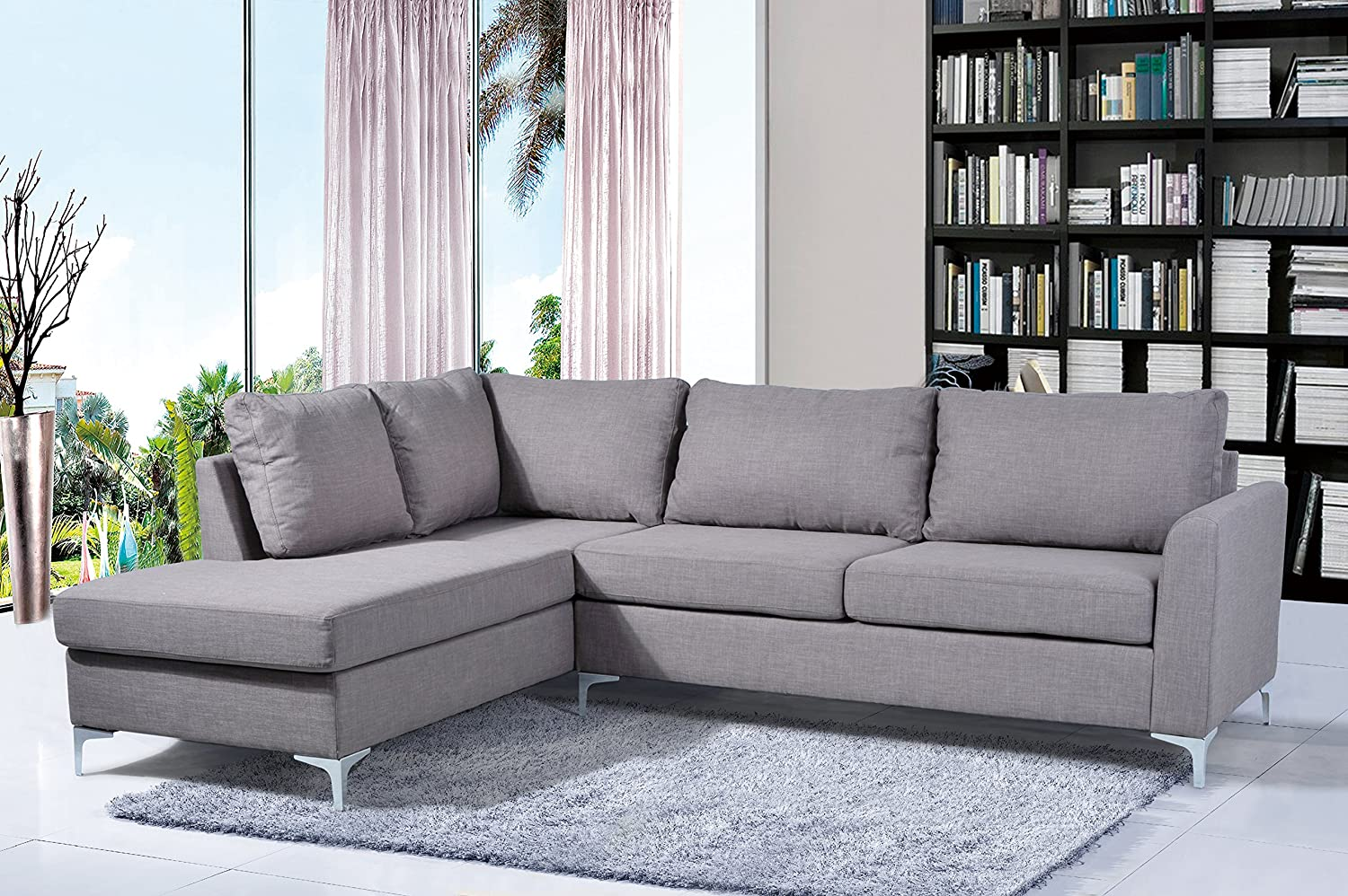 Groovy Nhi Express Landon Reversible Sectional Grey Ibusinesslaw Wood Chair Design Ideas Ibusinesslaworg