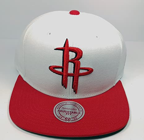 c3af92081 Image Unavailable. Image not available for. Color  Mitchell   Ness Houston  Rockets Solid XL Logo White Red Snapback ...