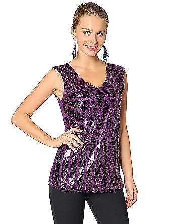 4ec67a4a64735f Metme Women Vintage V Neck Tank Tops Loose Flashy Sequin Sparkly Vest Tops  Purple