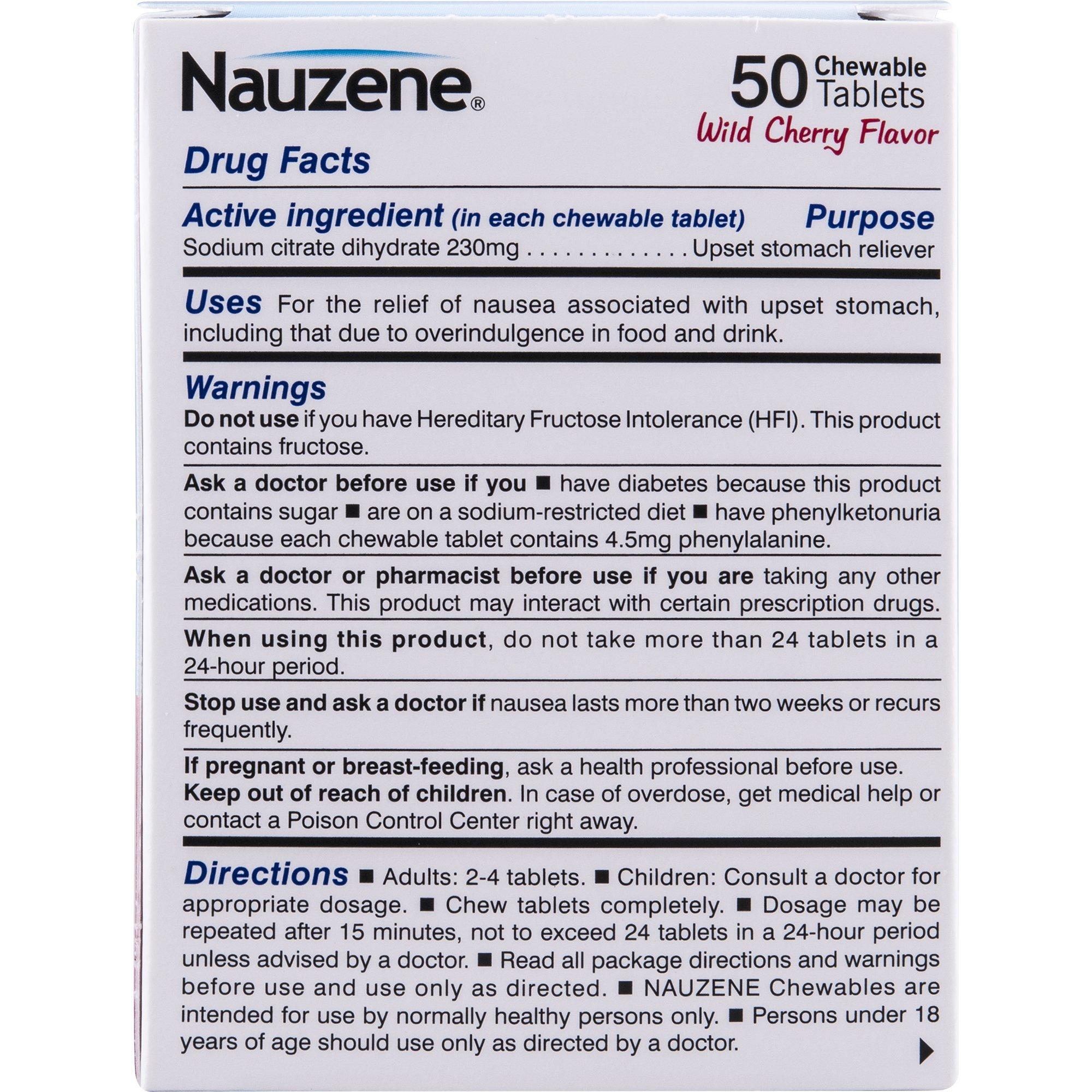 Nauzene For Nausea Chewable Tablets, Wild Cherry, 50 Count by Nauzene (Image #4)