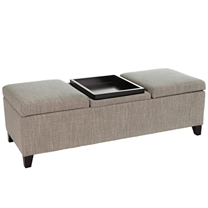 Delicieux Fullerton Chamois Fabric Storage Ottoman