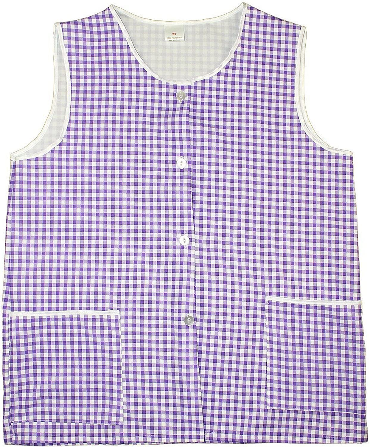 White tabard apron - Hduk Top Quality Ladies Gingham Check Home Work Tabard Apron With Two Front Pockets And Front Button Fastening Available In 6 Colours And Uk Sizes 8 10