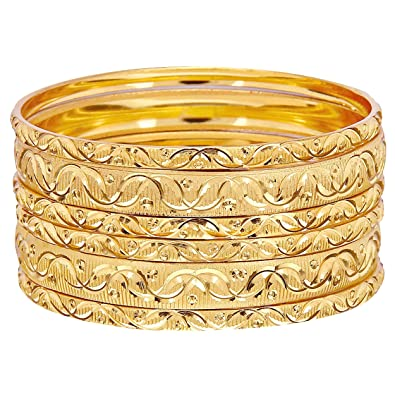 36f60789839 Mansiyaorange Six Traditional Fancy Designer Casual Party Hand Work Meena  One Gram Gold Bangles for Women