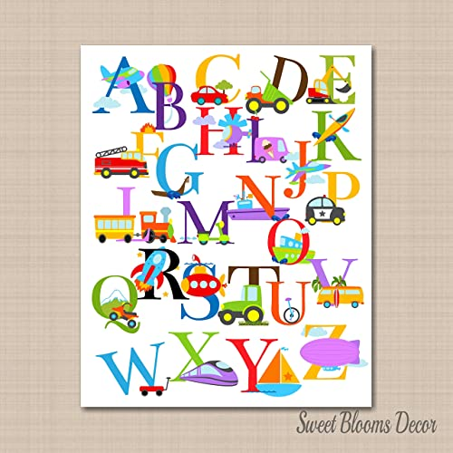 Transportation Wall Art,Transportation Wall Décor,Transportation Alphabet Wall  Art,Transportation Nursery Wall