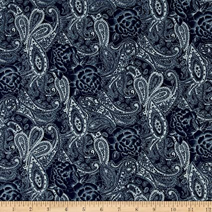 4657f75cc1f4 Image Unavailable. Image not available for. Color: TELIO Stretch Denim  Paisley Print Dark Blue Fabric ...