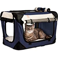 PetLuv Happy Pet Cat & Dog Crate & Carrier Premium Soft Sided Foldable Top & Side Loading Pet Carrier & Travel Crate - Locking Zippers Shoulder Straps Seat Belt Lock Nap Pillow Reduces Anxiety
