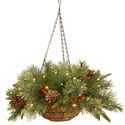 National Tree 20 Inch Feel Real Colonial Hanging Basket with Cones, Red Berries and 50 Warm White Battery Operated LED Lights with Timer (PECO1-300-20HB1) best outdoor Christmas decorations