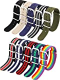 10 Pieces Nylon Watch Band Watch Straps Replacement with Stainless Steel Buckle for Men and Women's Watch Band Replacing…