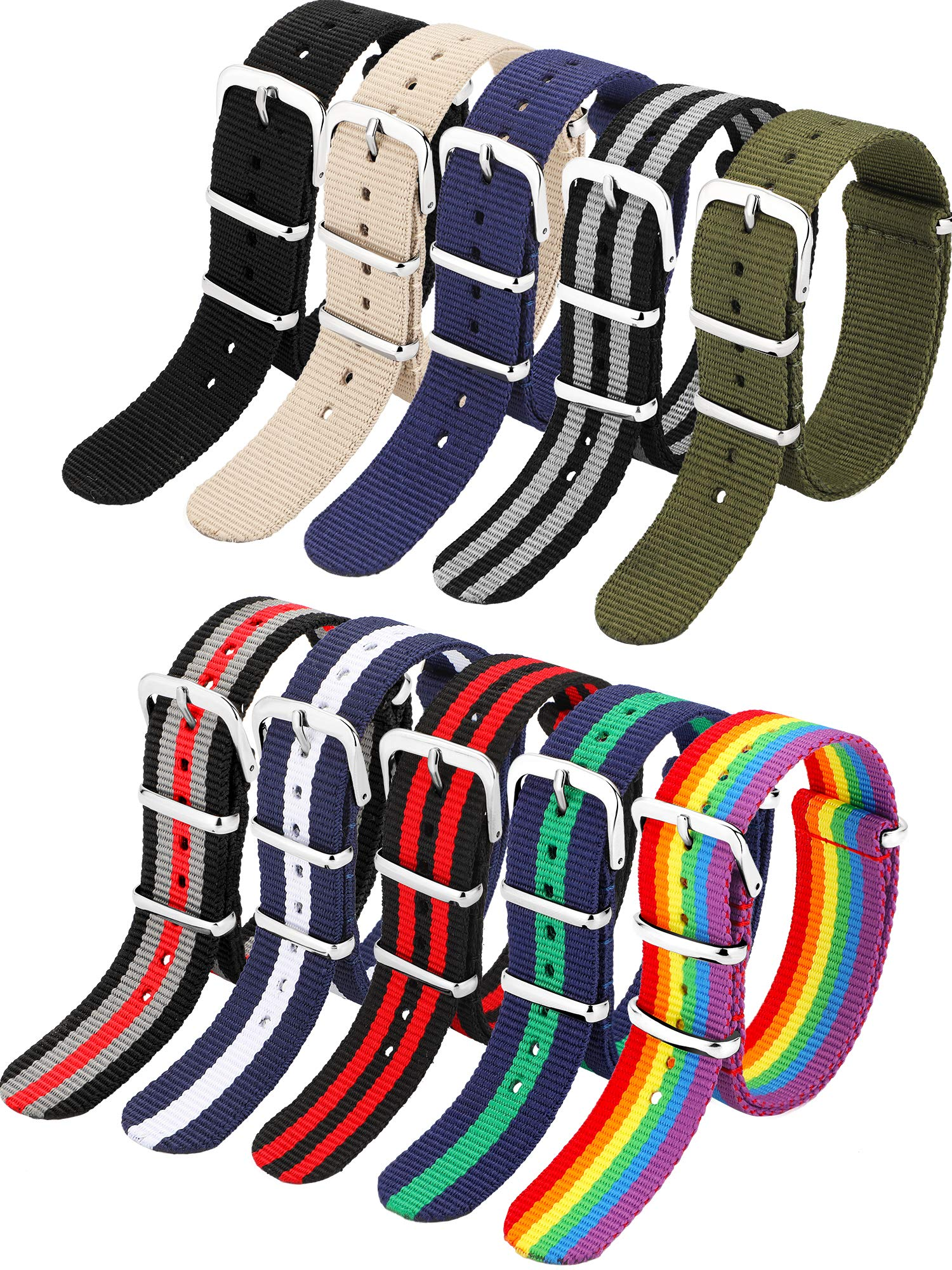 10 Pieces Nylon Watch Band Watch Straps Replacement with Stainless Steel Buckle for Men and Women's Watch Band Replacing 18 mm (Classic Colors)