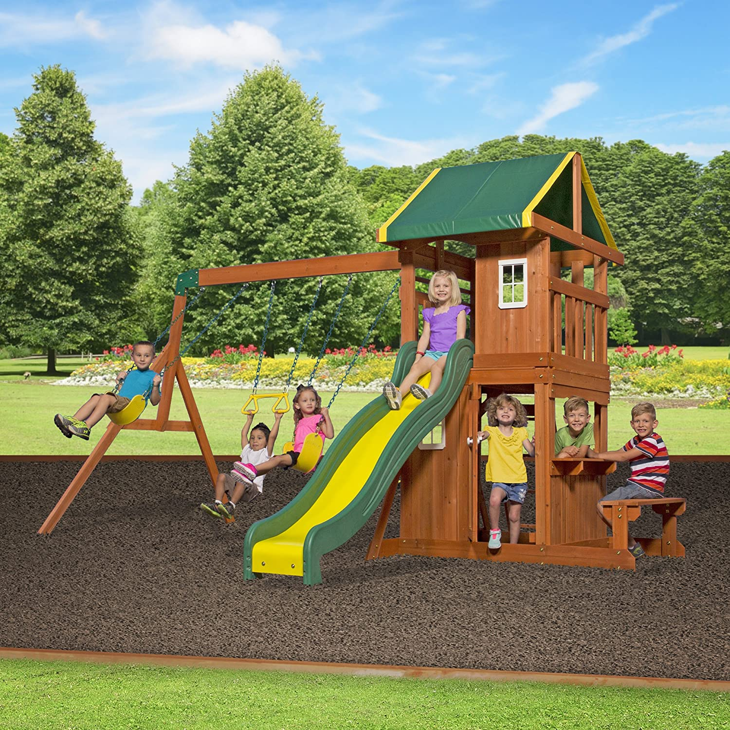 Amazon Backyard Discovery Oakmont All Cedar Wood Playset