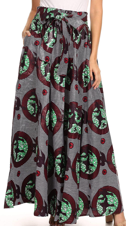 Sakkas Sora Women's Wide Leg Loose African Ankara Print Pants Casual Elastic Waist 5056108346156