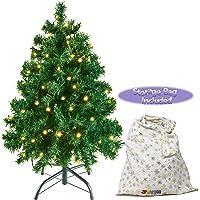 "JOYIN 30"" Prelit Premium Tabletop Artificial Christmas Tree, Artificial Christmas Tree with 100 Clear LED Lights and Metal Stand (Storage Bag Included!)"