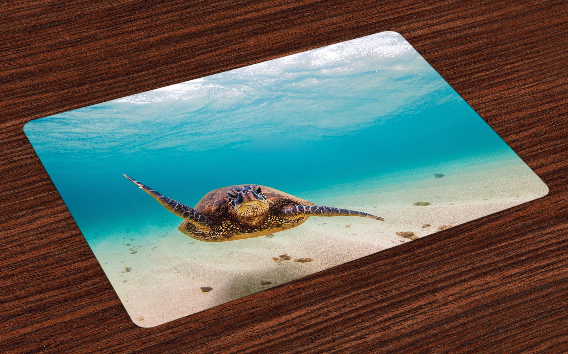 Lunarable Hawaiian Place Mats Set of 4, Underwater Scuba Diving Sea Turtle Nature Animal Swimming Wildlife Theme, Washable Fabric Placemats for Dining Room Kitchen Table Decoration, Blue Beige Brown