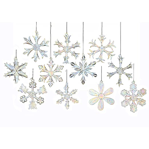 Christmas Tablescape Decor - Kurt Adler iridescent glass hanging assorted snowflake ornaments - Set of 12