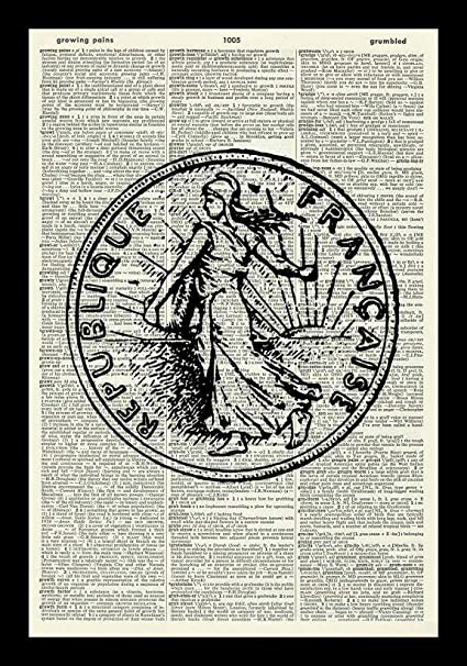Amazon com: 128 buyloii French Coin Art Print-Franc Art