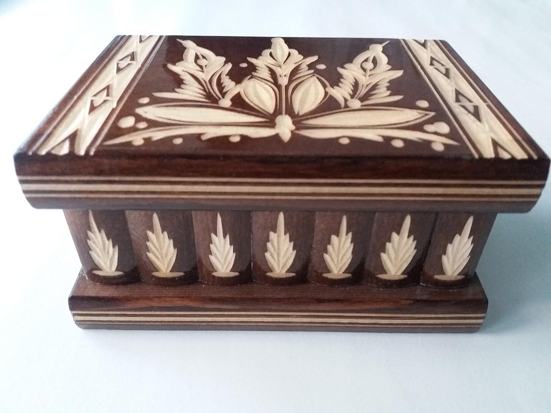 Puzzle box jewelry box brown magic treasure mystery secret compartment storage wooden box home decor brain teaser