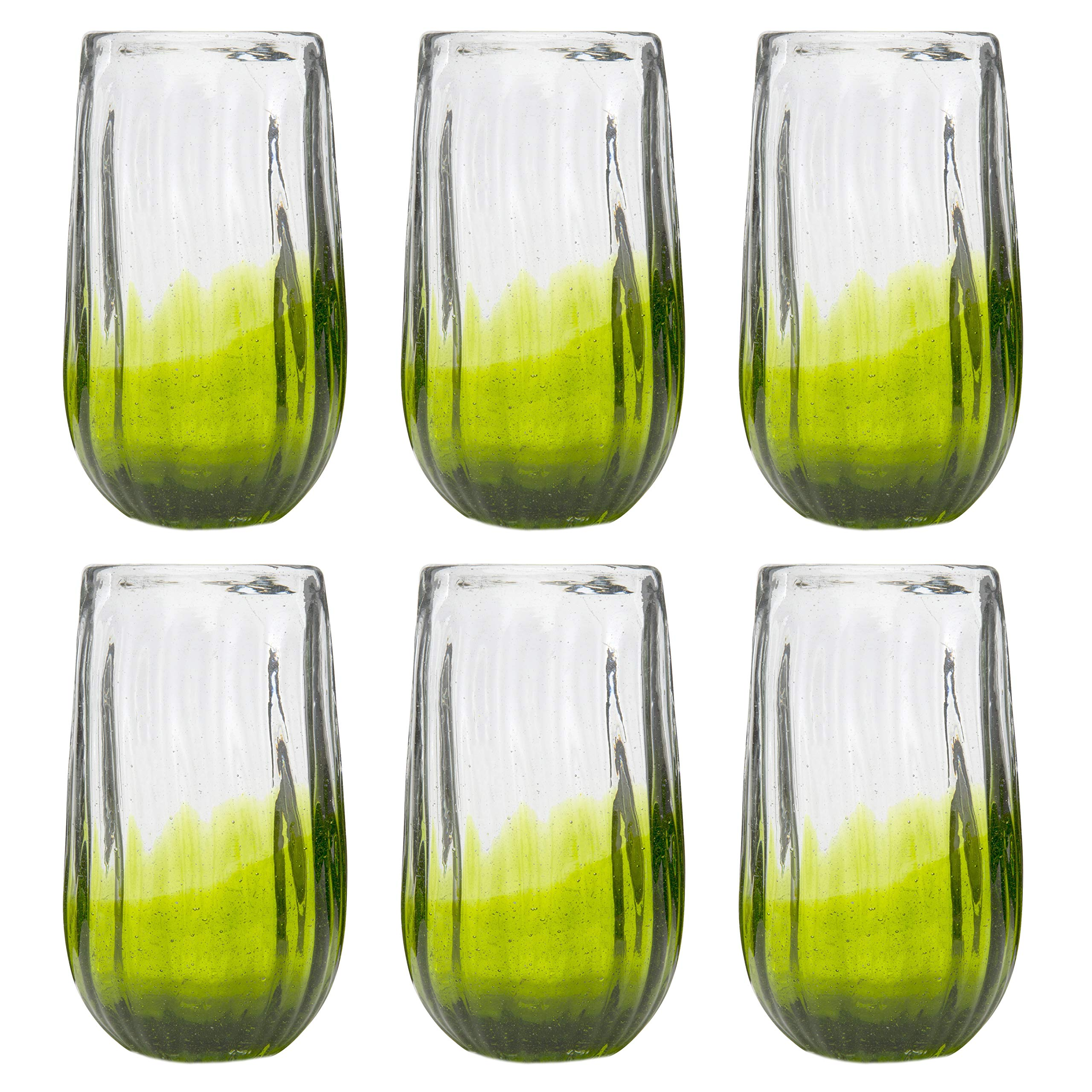 Amici Home, 7MCR069S6R, Rosa Hiball Drinking Glass, Translucent Lime Ombre, Recycled Handblown Artisanal Mexican Tabletop Glassware, 20 Ounce Capacity, Set of 6 by Amici Home