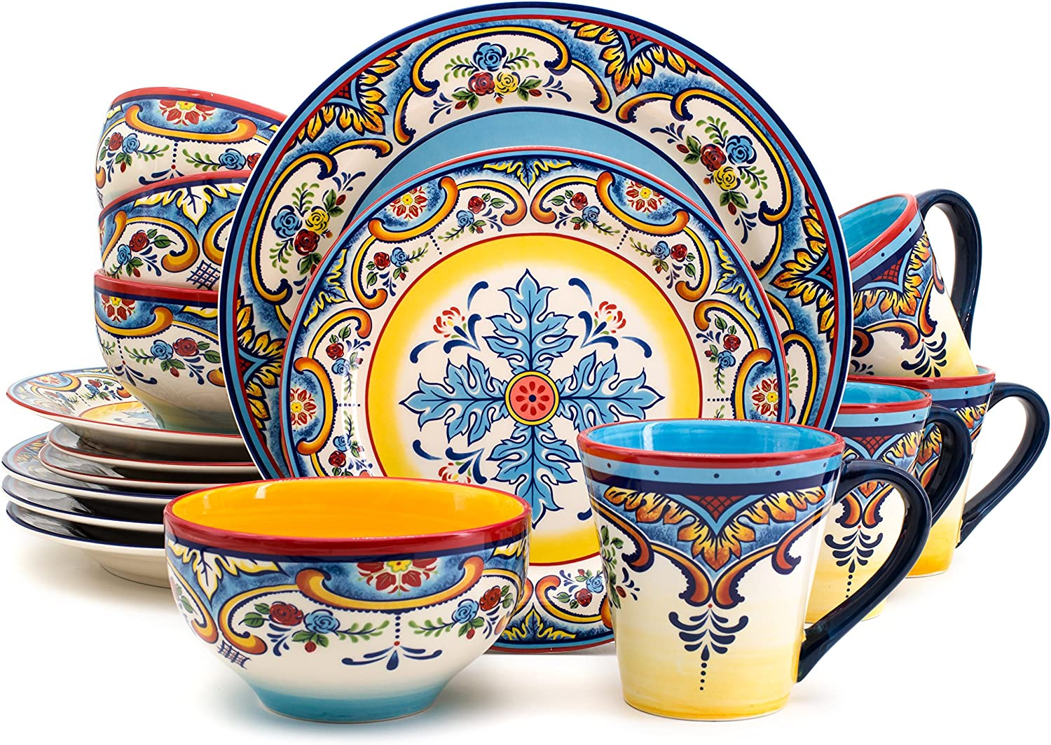 Euro Ceramica Inc. YS-ZB-1001 16 Piece Dinnerware Set Kitchen and Dining, Service for 4, Spanish Floral Design, Multicolor, Blue and Yellow