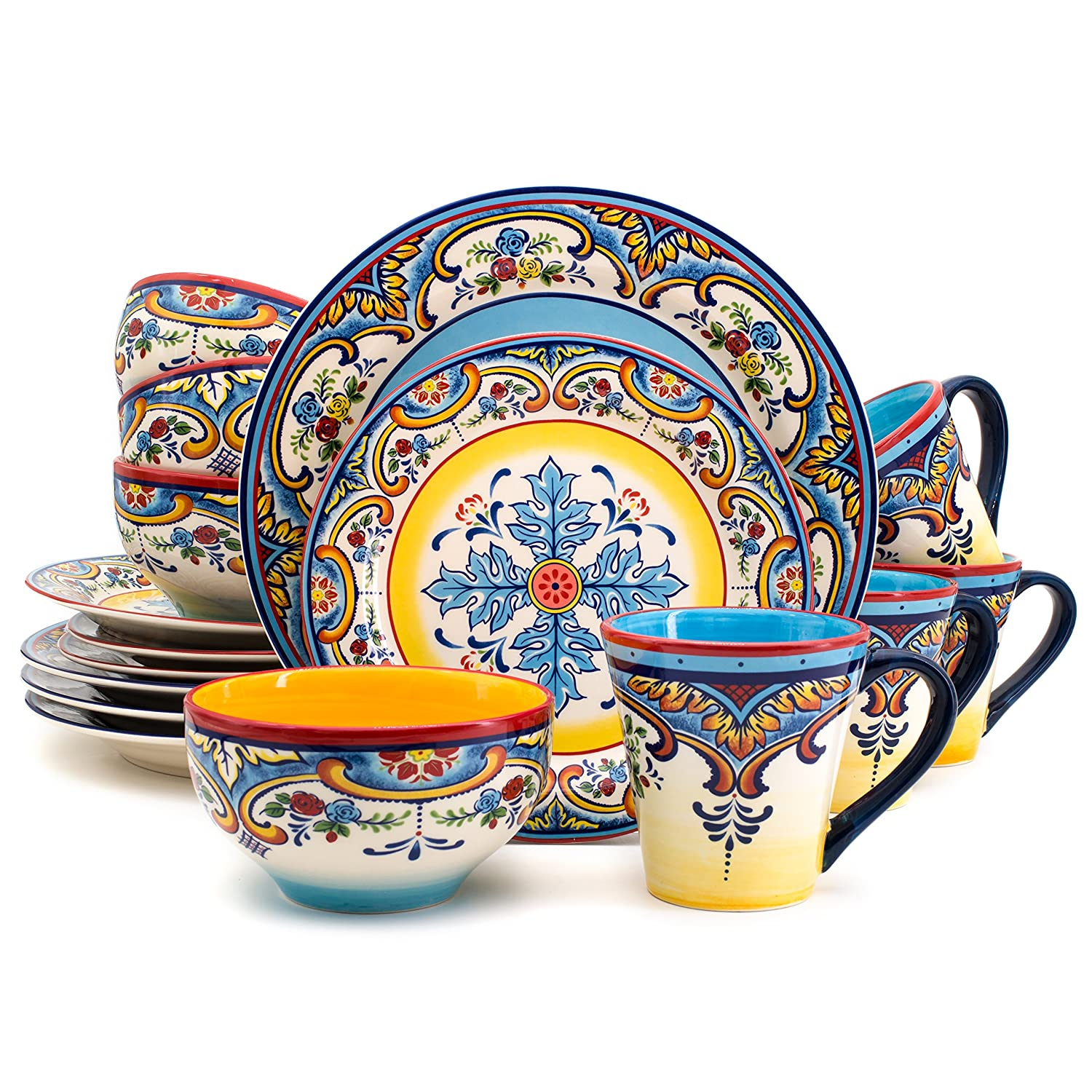 Euro Ceramica Inc. YS-ZB-1001 Zanzibar Collection Vibrant Ceramic Earthenware Dinnerware Set 16 Piece Spanish/Mexican Floral Design, Multicolor, Service for 4