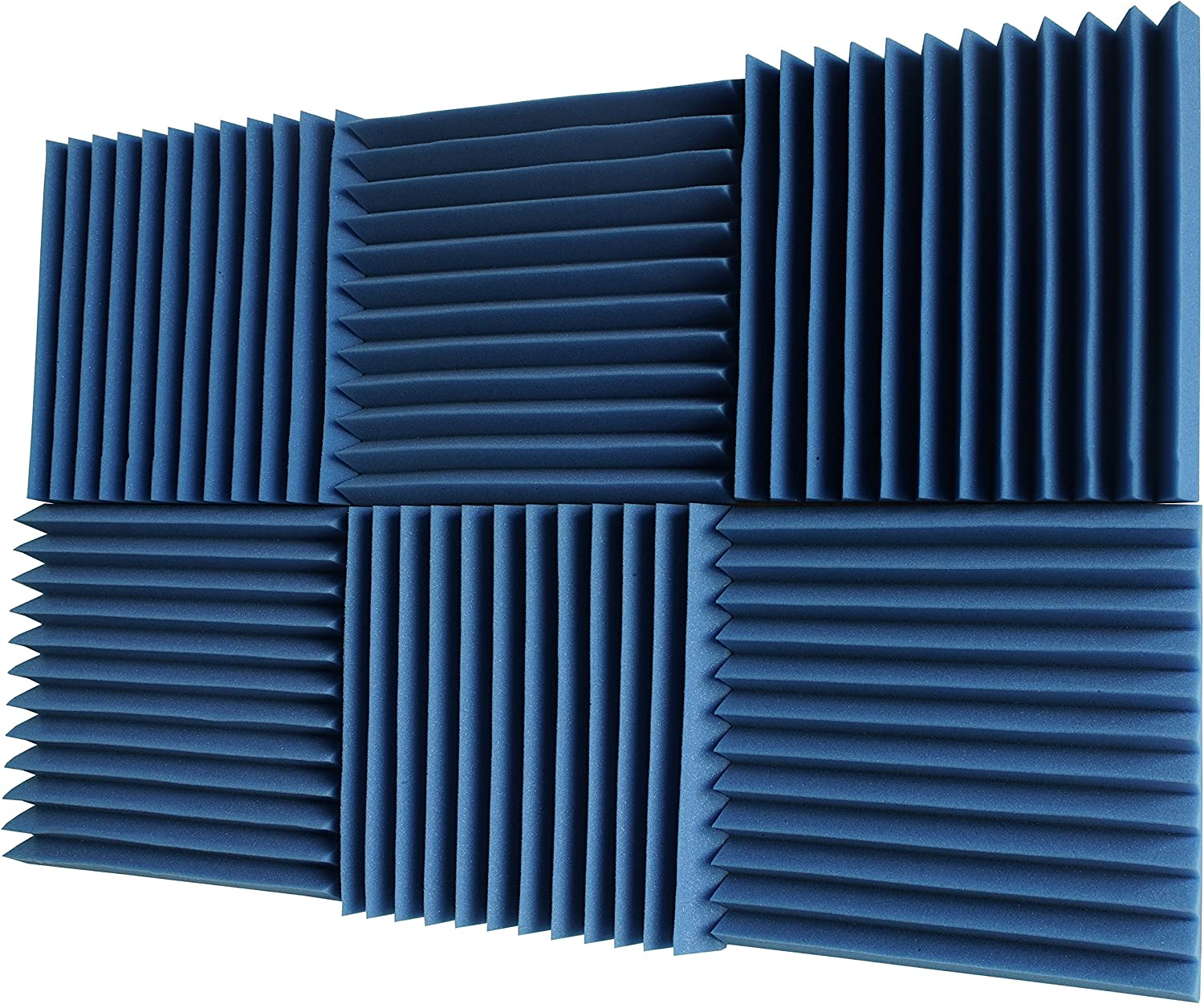 "Foamily 6 Pack - All Ice Blue Acoustic Panels Studio Foam Wedges 2"" X 12"" X 12"""