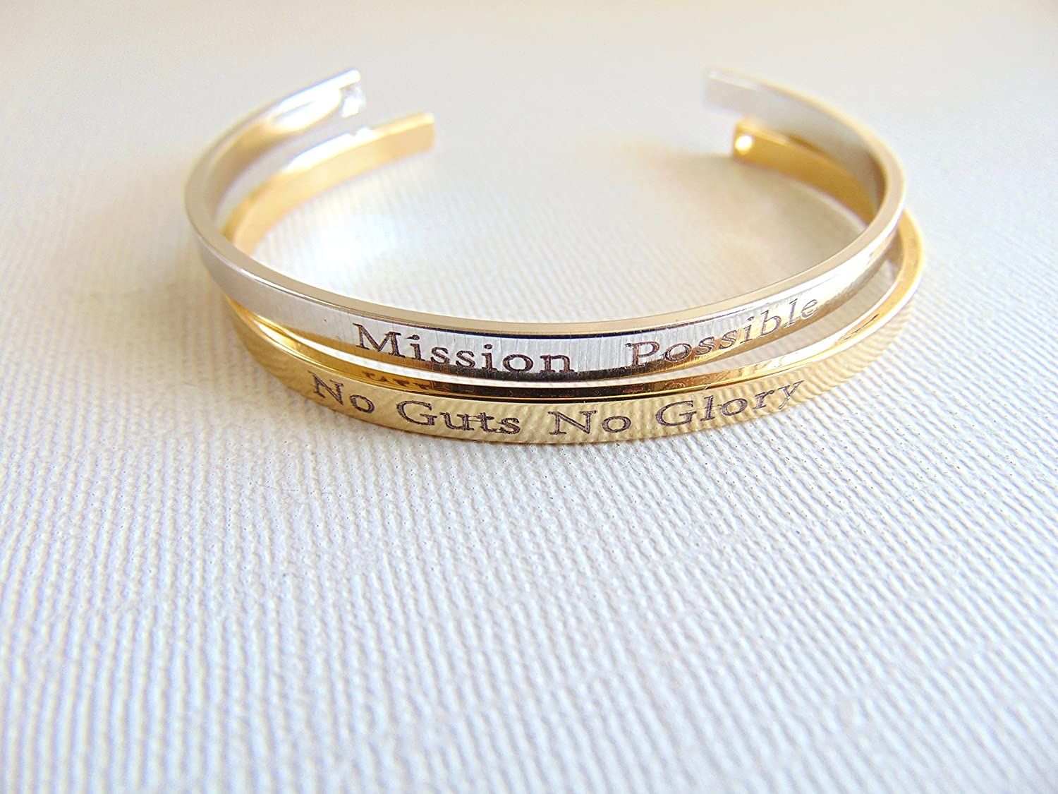 9a9ad40594e Amazon.com: Personalized Cuff Bracelet, 16K gold open bangle, custom text  layered bracelet, Secret message cuff, Hand stamped quote Mantra band  Bracelet: ...