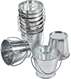 10-Pack Small Metal Bucket - Bucket Planter with, Mini Metal Pail, Ideal for Party Favors, Trinkets, Small Plants, Garden Decorations, Silver, 5.3 x 3.7 Inches