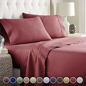 Hotel Luxury Bed Sheets Set- 1800 Series Platinum Collection-Deep Pocket, Wrinkle & Fade Resistant(Queen,Burgundy)