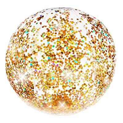 Poolcandy Gold Holographic Glitter Beach Ball - Inflatable Jumbo Beach Ball - Glitter Sparkles and Shines in The Sun - Pool, Beach, Gold Decoration Float: Toys & Games [5Bkhe1000778]