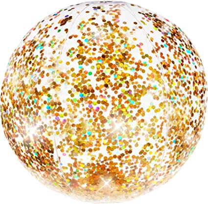 PoolCandy Gold Holographic Glitter Beach Ball - Inflatable Jumbo Beach Ball - Glitter Sparkles and Shines in the Sun - Pool, Beach, and Toy Decoration ...