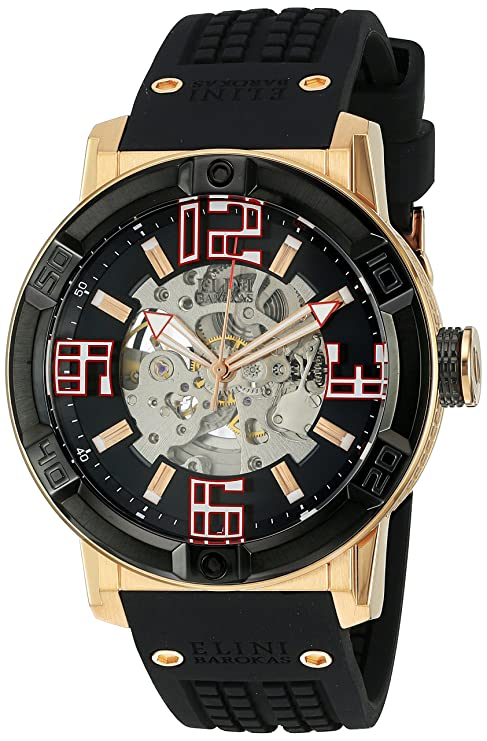 Amazon.com: Elini Barokas Mens Spirit Automatic Stainless Steel Casual Watch (Model: ELINI-20025-RG-01-BB): Watches