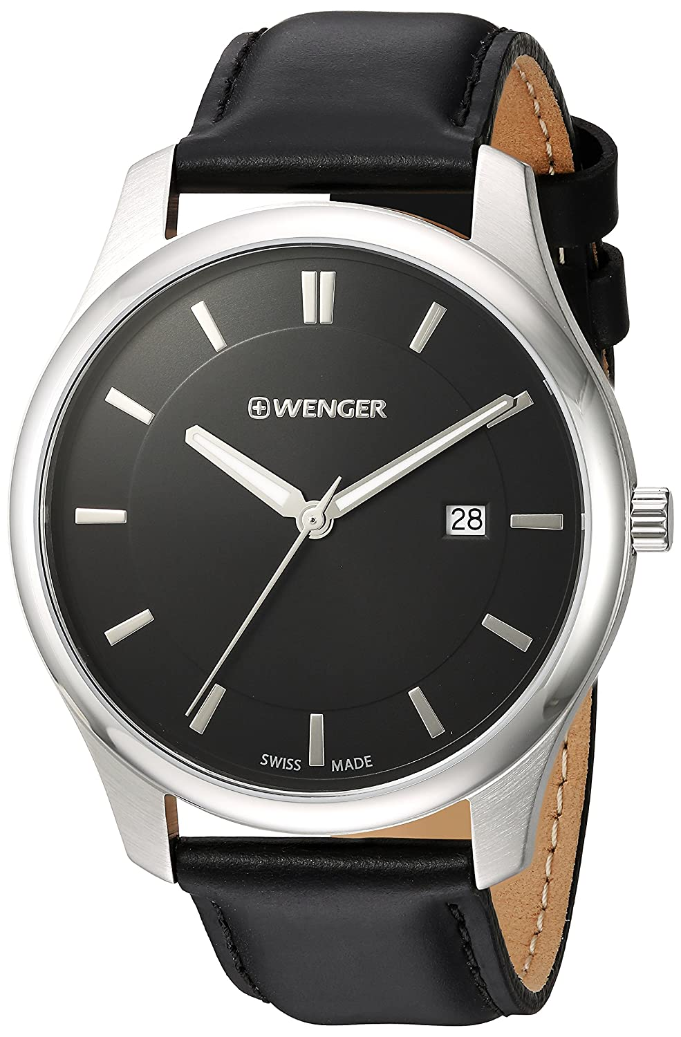 Amazon.com: Wenger Mens City Classic Stainless Steel Swiss-Quartz Watch with Leather Calfskin Strap, Black, 20 (Model: 01.1441.101: Watches