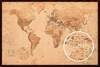 product image for Frame USA World Map Antique Poster (Architect Walnut Frame)(36x24)