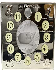 Silver Plated ' My First Year ' Expressions Photo Frame Babys First Birthday Christening Gift - Holds 13 Photos