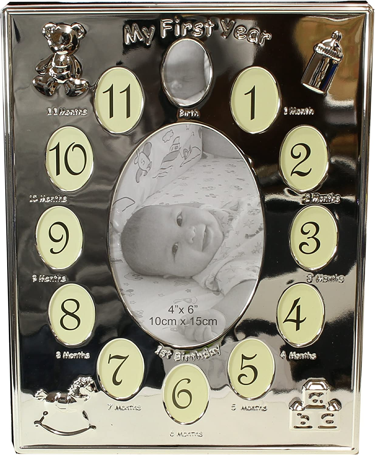 benerini Silver Plated My First Year Expressions Photo Frame Babys First Birthday Christening Gift – Holds 13 Photos