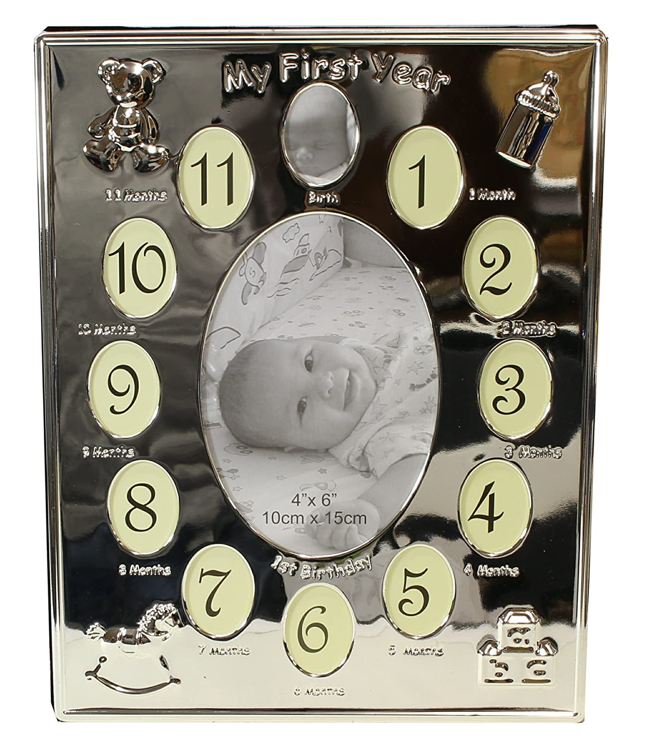 Silver Plated ' My First Year ' Expressions Photo Frame Babys First Birthday Christening Gift - Holds 13 Photos Neptune Giftware