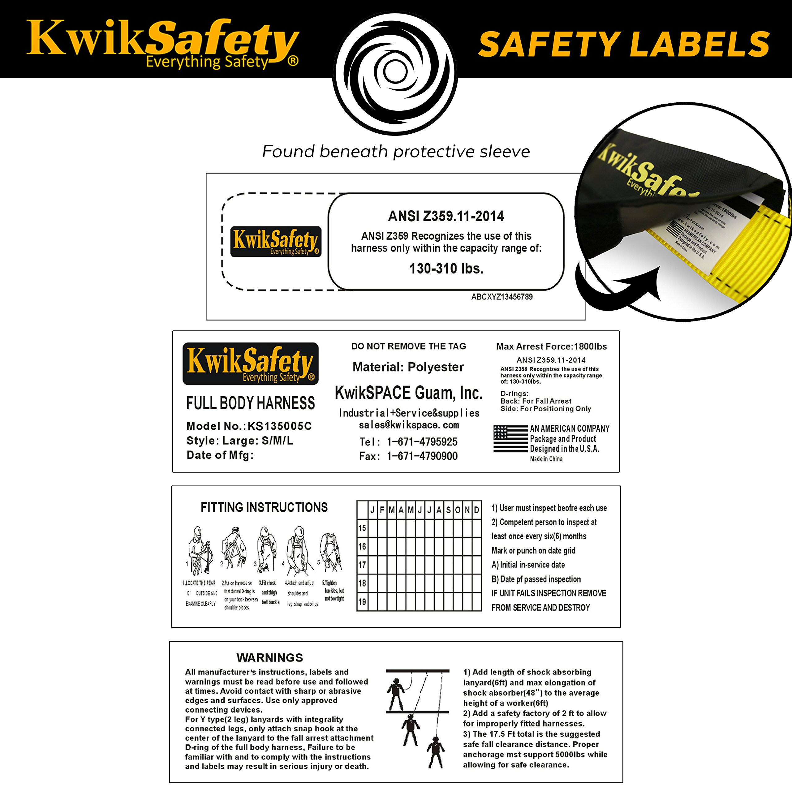 KwikSafety HURRICANE | OSHA ANSI Fall Protection Full Body Safety Harness w/Back Support | Personal Protective Equipment | Dorsal Ring Side D-Rings | Universal Construction Industrial Roofing Tool by KwikSafety (Image #7)