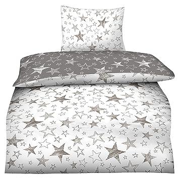 Basatex 155x220 Microfaser Flausch Bettwäsche Sterne Grau Weiss